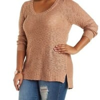 Plus Size Taupe Slub Knit Pullover Sweater by Charlotte Russe
