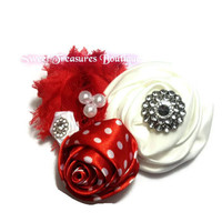 Red and white satin Christmas hair bow or headband for baby toddler and little girls - red hair bow - christmas headband