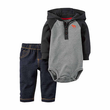 Carter's® 2-pc. Black Bodysuit and Pants Set - Baby Boys newborn-24m