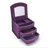 KLOUD City® Purple Three-layer Lint Jewelry Box with Drawers