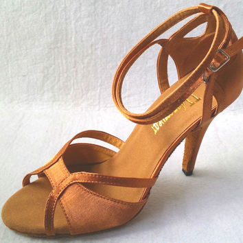 New Women Tan Satin  Ballroom Latin Dance Shoes Salsa Dance Shoes Latin Salsa Dancing Shoes