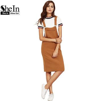 SheIn Casual Shift Dresses For Woman Autumn Khaki Sleeveless Strap Ribbed Knee Length Overall Dress With Pockets