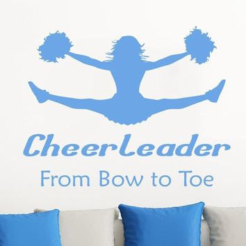 Cheer Leader Art Quotes Wall Stickers With Jumping Athlete Silhouette Creative Acting Wall Decals Home Livingroom Decor Wm-521