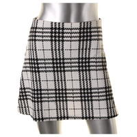 Aqua Womens Plaid Textured A-Line Skirt
