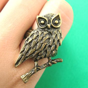 Realistic Owl Bird Animal Ring in Bronze Size 7 Only