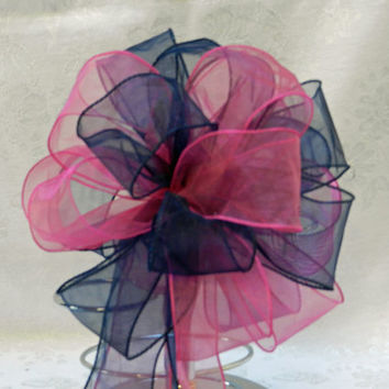 Hot Pink and Navy Blue Wedding/ Pew Bows set of 10