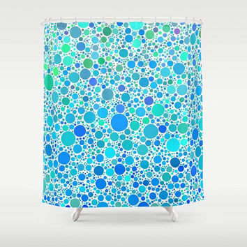 Turquoise Dots Shower Curtain - Polka dots - colorful shower curtain, circles, blue and white
