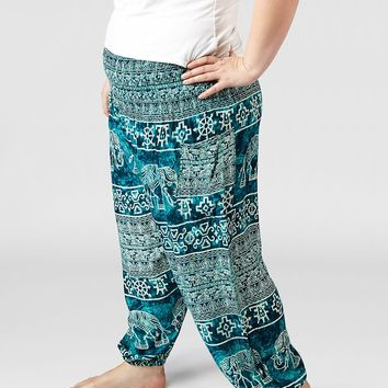 Minnie Teal Plus Size Harem Pants
