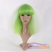 """18"""" Shoulder Length Curly with Bangs Synthetic Wigs for Women Basic Cap Green"""