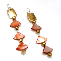 Hammered Brass Shell and Crystal Earrings Handmade by WoobieLove