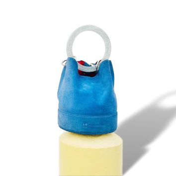 Runway Blue Suede Bucket Bag