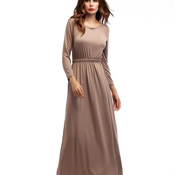 Khaki Long Sleeve Dress