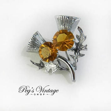 Vintage Celtic Scottish Brooch, Double Thistle Topaz Stone Pin Brooch, Gifts for Her