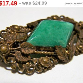 CLEARANCE SALE Green Peking Glass Brooch Pin, Art Deco Era, Antiqued Gold tone Leaf Setting, Romantic Vintage Jewelry 917
