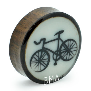 "1 5/8"" (43mm) Fixie on Bone and Bloodwood Plugs #2109 [SINGLE PLUG]"