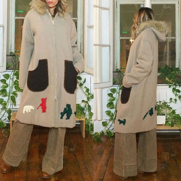 Vintage 1960's 1970's Cream ESKIMO Wool Inuit Parka Arctic Winter Coat With Fur Trimmed Collar    Size Large