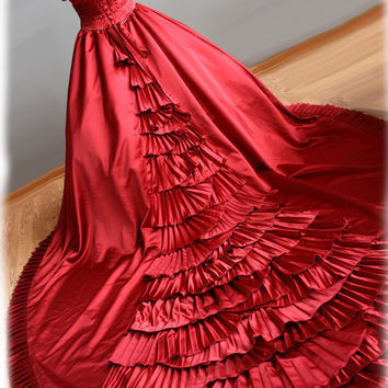 Red Wedding Dress Ball Gown Style with Pleats and by AvailCo