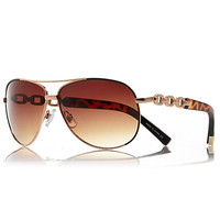 River Island Womens Gold tortoiseshell chain aviator sunglasses
