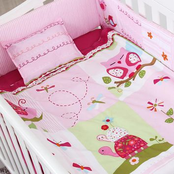 4PCS Embroidery Baby Crib Sets,Baby Girl Crib Bedding Set,Pink Soft Baby Bedding Sets,include(bumper+duvet+sheet+pillow)