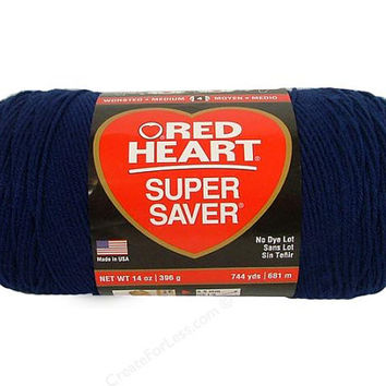 Yarn, Red Heart Super Saver Yarn, Soft Navy, AcrylicYarn, Crochet Yarn, Knitting Yarn, Craft Supply