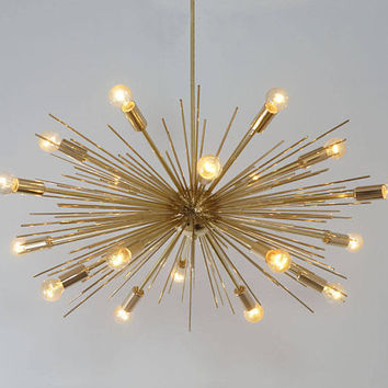 "Mid Century Modern Handcrafted Gold Brass Spurchin Chandelier 18 bulb Sputnik Ceiling Lamp Light 32 "" diam"