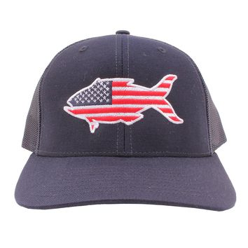 American Flag Snapper Hat in Navy by Southern Snap Co.