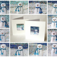 Handmade fabric snowman Christmas card - 5 inch square beaded embroidered Xmas card - winter landscape - nursery art - Holiday snowscene