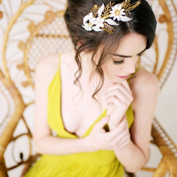 Hand painted gold headband - ready to ship - style 2003