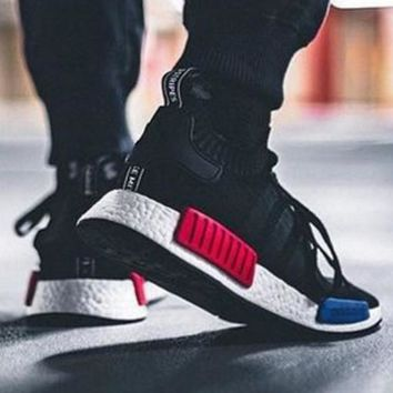 """Adidas"" NMD Trending Fashion Casual Sports Shoes Black red blue soles"