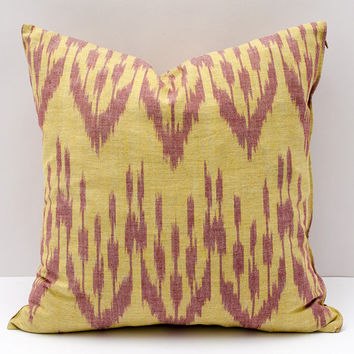 15x15 yellow burgundy cotton ikat pillow cover, cotton ikat, cotton pillow