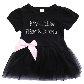 My Little Black Dress Infant Baby Girls Short Sleeve Tutu Dress Lace Bowknot Mini Party Dress