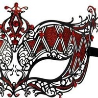Venetian Metal Black Laser Cut Masquerade Mask with Red Rhinestones And Glitter Scrollwork