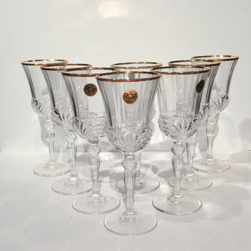 Lead Crystal Goblets with Gold Trim,Set of 8 Aurea Gold Royal Crystal Rock