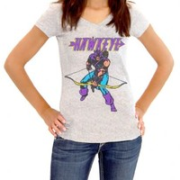 Marvel Comics Hawkeye Bow Down Juniors Heather Gray T-shirt