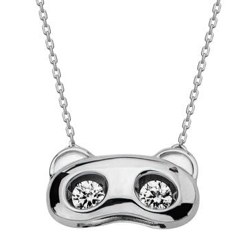 Gems In Motion Panda Bear Sterling Swarovski CZ Pendant