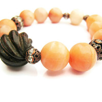 Peach Jasper Gumball Stacking Bracelet