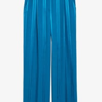 Dressy jaquard trousers - Deep turquise blue - Trousers & shorts - Monki GB
