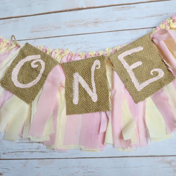 girl high chair banner - ONE banner - photo prop - you are my sunshine birthday decor - rustic birthday party - princess photo prop