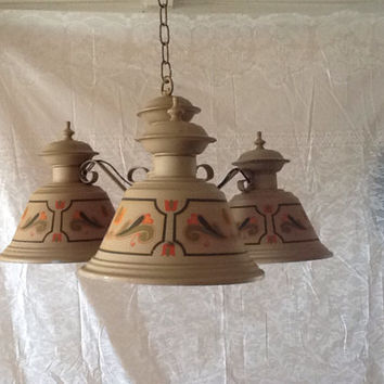 Vintage Tole French Country Chandelier 3 Light  Painted Design 1940s