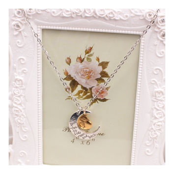 X329 love Valentine's Day love couple of European and American moon necklace ebay jewelry supply   MOM SILVER
