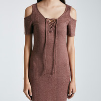 Ribbed Knit Lace-Up Cold-Shoulder Shirttail Dress | Wet Seal