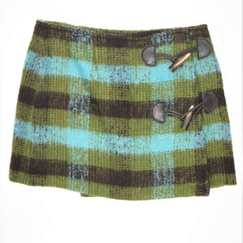 Vintage Moschino Jeans Tess Wool Mohair Plaid Wrap Mini Skirt 4