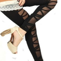 Punk Half Black and Half Striped Footless Tights
