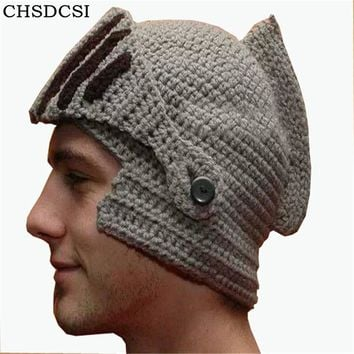 2018 New Handmade Knitting Women Men Balaclava Octopus Roman Knight Beard Hat Crochet Beanies Hat Winter Hallowmas Days Mask Cap