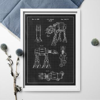 Inked and Screened Star Wars AT-AT Design Patent Art Poster Blueprint Canvas Painting Poster And Print Wall Art Home Decor