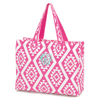 Pink Aztec Beach Bag