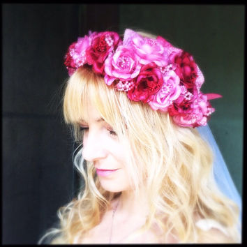 Bohemian wedding headpiece flower bridal headband crown tiara in red pink