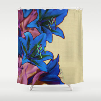 Blue Lilies Pink Flowers on Light Mustard Yellow Stone Wall Shower Curtain by Natural Design