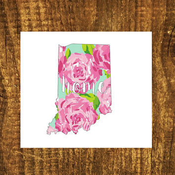 LILLY PULITZER Indiana Home Decal | Indiana State Decal | Homestate Decal | Love Sticker | Love Decal  | Car | Car Sticker | Bumper | 106
