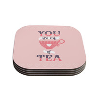 "Daisy Beatrice ""My Cup of Tea"" Pink Purple Coasters (Set of 4)"